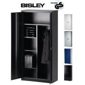 BISLEY Aktenschrank | Garderobenschrank | Kleiderschrank aus Metall abschließbar | Stahlschrank ist TüV / GS geprüft | in 4 Farben (Schwarz)
