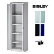 BISLEY Aktenschrank | Werkzeugschrank | Flügeltürenschrank aus Metall abschließbar inkl. 4 Einlegeböden Breite = 60 cm | Stahlschrank ist TüV / GS geprüft | in 4 Farben (Lichtgrau)
