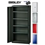 BISLEY Aktenschrank   Werkzeugschrank   Flügeltürenschrank aus Metall abschließbar inkl. 4 Einlegeböden   Schwarz
